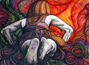 "Summoned, 2013, 22"" x 30,""  pastel & watercolor"