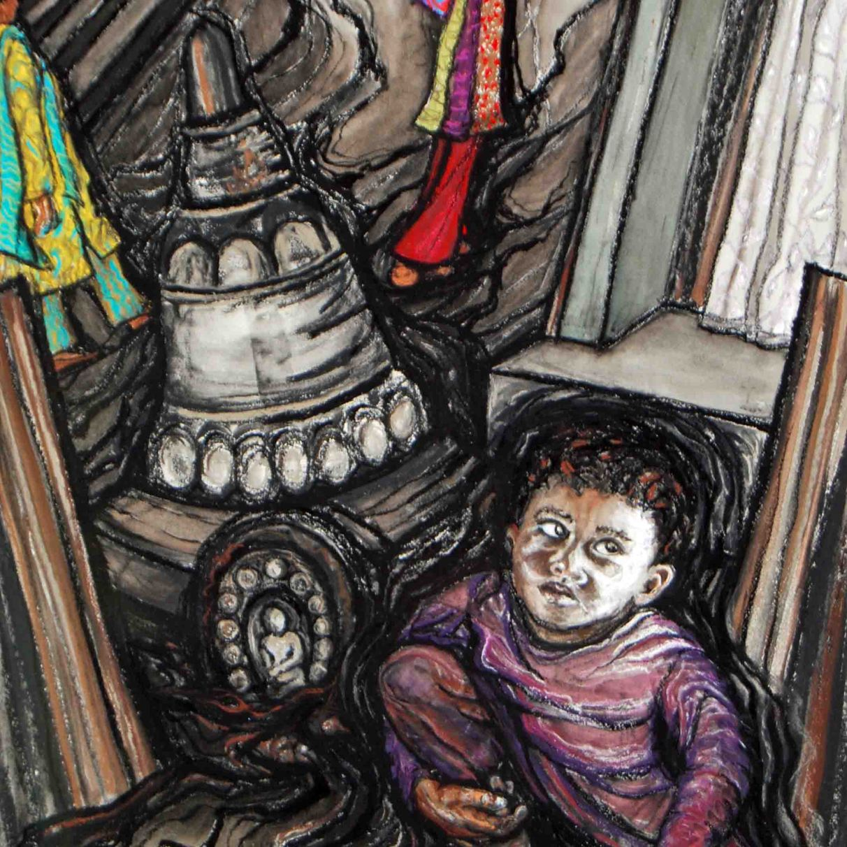 """Orphans in Nepal; 2012, 21"""" x 29""""; mixed media: charcoal, pastel, watercolor."""
