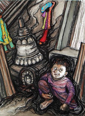 "Orphans in Nepal; 2012, 21"" x 29""; mixed media: charcoal, pastel, watercolor."