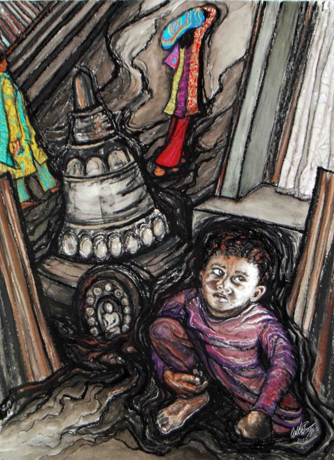 "Orphans in Nepal, 2012, 21"" x 29"", charcoal, pastel, watercolor"