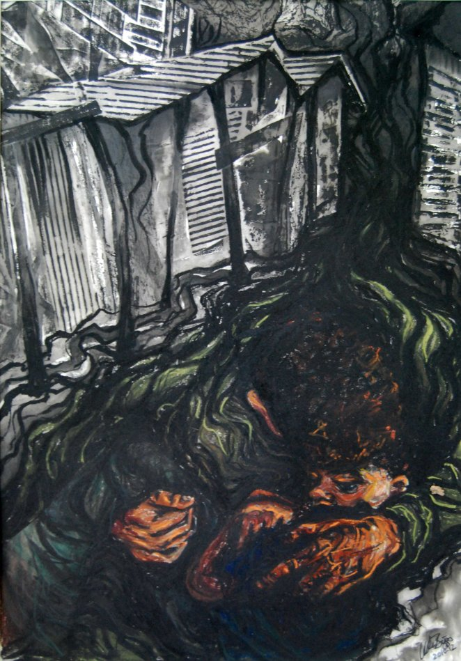 "Rescue; 2012; 19"" x 27""; mixed media: collagraph, ink, pastel, charcoal."