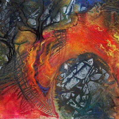 "Bridge of Hope; 2001; 21 1/2"" x 14 1/2""; mixed media: ink, watercolor, pastel."