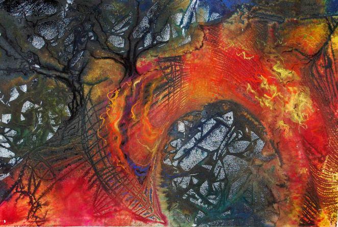 "Bridge of Hope; 2001; 21 1/2"" x 14 1/2"": mixed media: ink, watercolor & pastel."