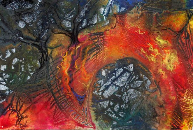 "Bridge of Hope; 2001; 21 1/2"" x 14 1/2"": mixed media: ink, watercolor & pastel."