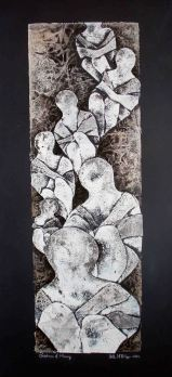 "Children of Mercy; 2002, 7"" x 21""; mixed media: collagraph, ink"
