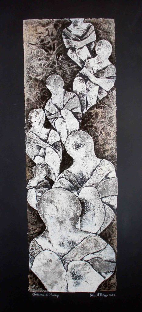 "Children of Mercy, 2002, 7"" x 21,"" collagraph, ink"