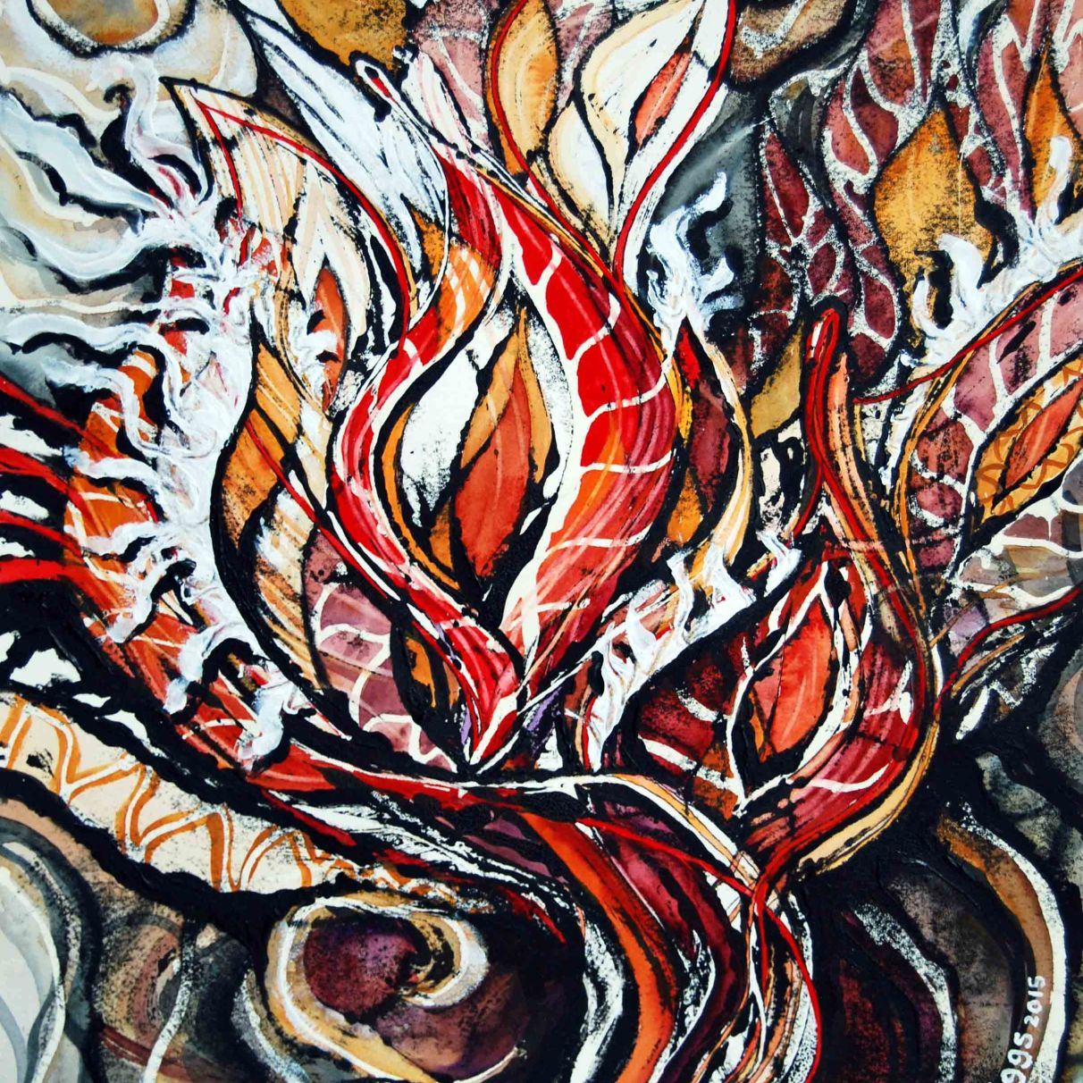 """Battle Cry (series #4); 2015; 15"""" x 19""""; mixed media: oil-based ink, watercolor, acrylic."""