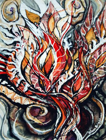 "Battle Cry (series #4); 2015; 15"" x 19""; mixed media: oil-based ink, watercolor, acrylic."