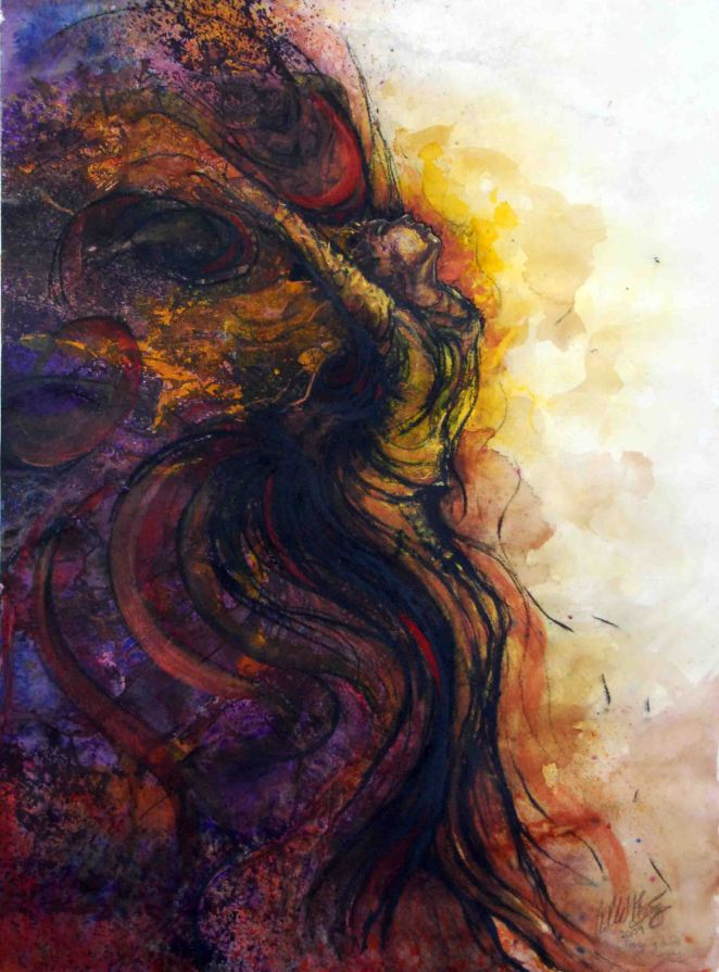 "Longing to Be Free, 2009, 15"" x 20"", mixed media: watercolor, ink, and pastel (original sold)"