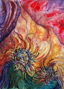 "Reach; 2013; 21"" x 29""; mixed media: watercolor, pastel, charcoal."