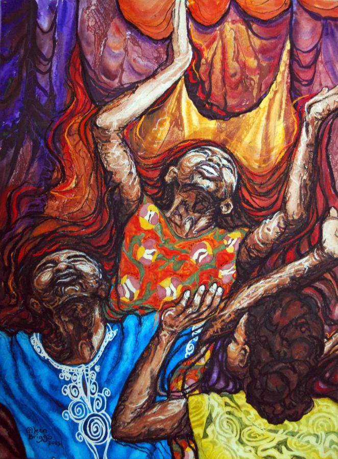 "Joy of Kenya; 2013; 21"" x 28 1/2""; mixed media: watercolor, pastel, charcoal."