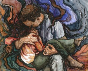 "Carried; 2012; 20.25"" x 16.25""; mixed media: watercolor & pastel. On loan for exhibit from Woodmen Valley Chapel."
