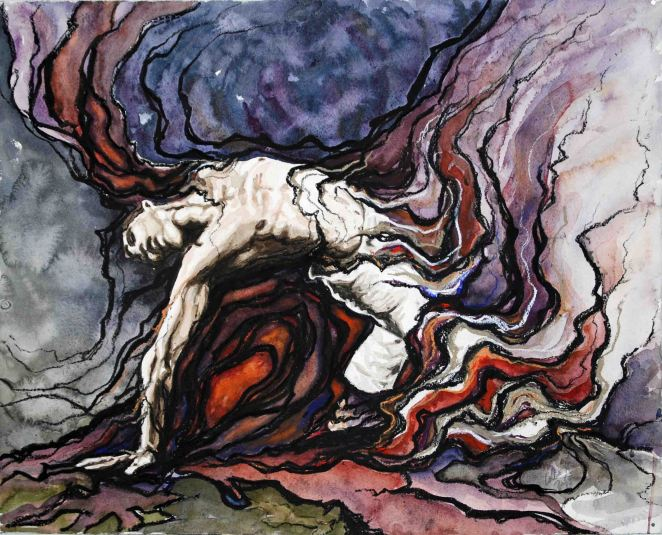 "Moment Between Death... and Life; 2012; 20"" x 16""; mixed media: watercolor, charcoal, pastel."