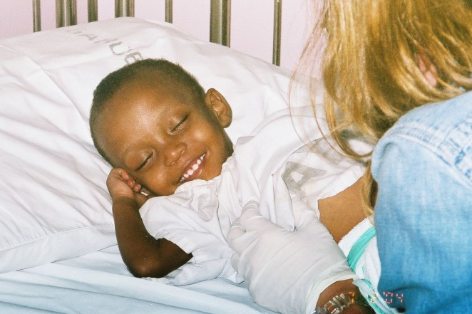 Sarah, first smiles in hospital