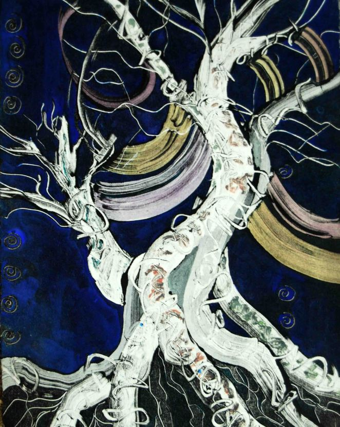 "Dancing Tree; 1992; 9.5"" x 12""; monotype & watercolor."