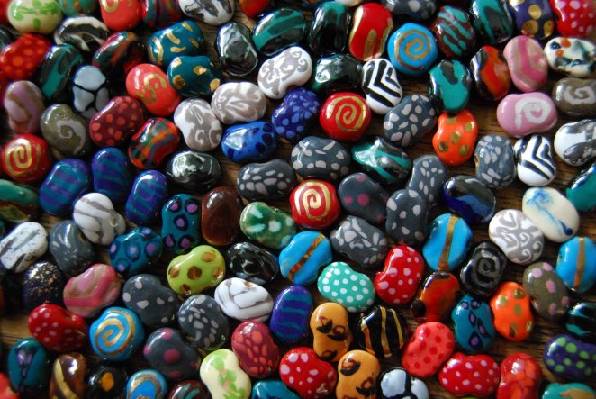 "Kazuri (Swahili for ""small and beautiful"") beads, made by single mothers from Nairobi's largest slum. We buy these direct from the factory. Debbie calls a visit to the shop ""Kazuri therapy."""