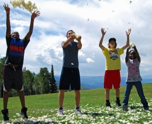 Celebrating life with my kids on top of a mountain in Steamboat