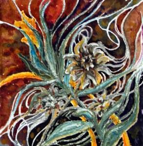 """Autumn grasses (study); 2013; 6.5"""" x 6.25""""; mixed media: oil pastel, pencil, & watercolor."""