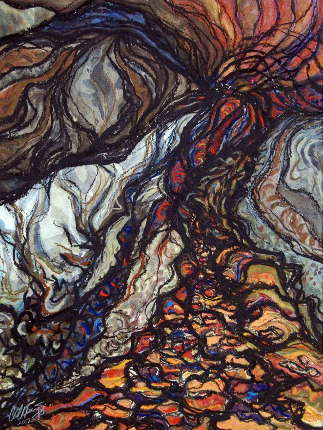 "Long Road Home; 2013; 12"" x 15""; mixed media: watercolor, pastel, charcoal, pencil."