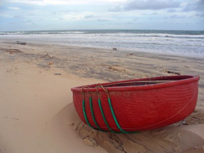 Vietnam beach from which many people fled after the fall of Saigon, (c) Colleen Briggs, 2009 .