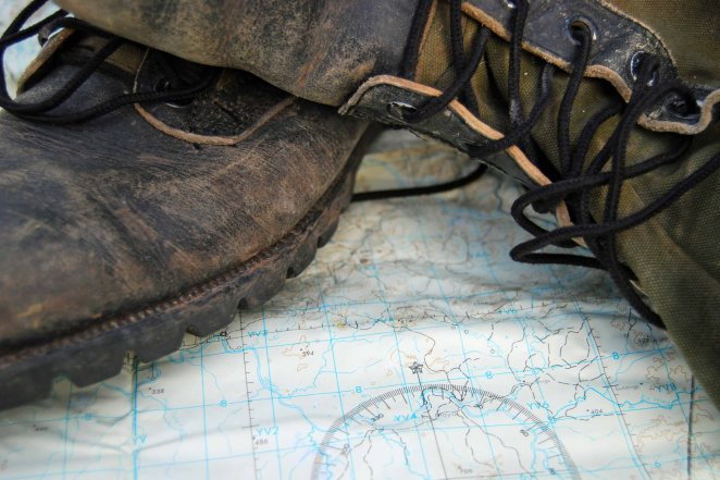 Boots and military map from the American/Vietnam War, gifts from a close relative who served