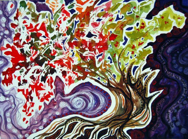"Gratitude; 2013; 15"" x 11""; mixed media: watercolor, acrylic, pastel."