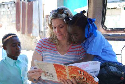 Julie Scott with students, (c) Colleen Briggs, 2014