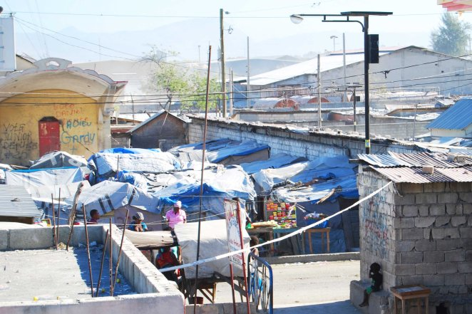 Tent homes in Pele, a neighborhood of Cite Sole