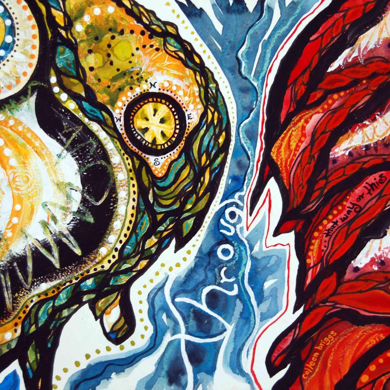 "Through; 2013; 13.5"" x 11""; mixed media: watercolor, acrylic, ink, pastel."