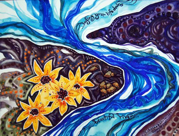"Beautiful River; 2014; 12"" x 9""; mixed media: watercolor, ink, acrylic."