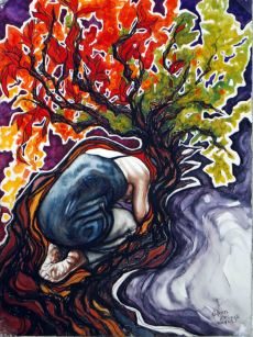 """Holy Ground; 2014; 22"""" x 30""""; watercolor. Privately owned."""
