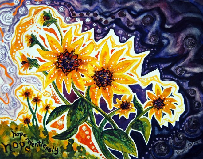 Hope Relentlessly; 2013; mixed media: watercolor, pastel, acrylic; commissioned by friends of a family waiting for an adopted child's homecoming from Ethiopia.
