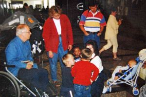 Welcome party at airport, including my dad, in a wheelchair but alive!