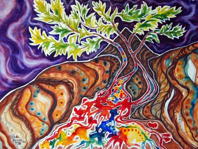 "Canopy of Hope; 2014; 30"" x 22""; watercolor"