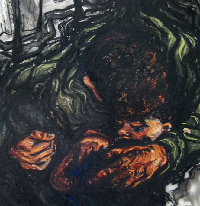 Rescue, 2010, detail; mixed media: charcoal, ink, pastel.