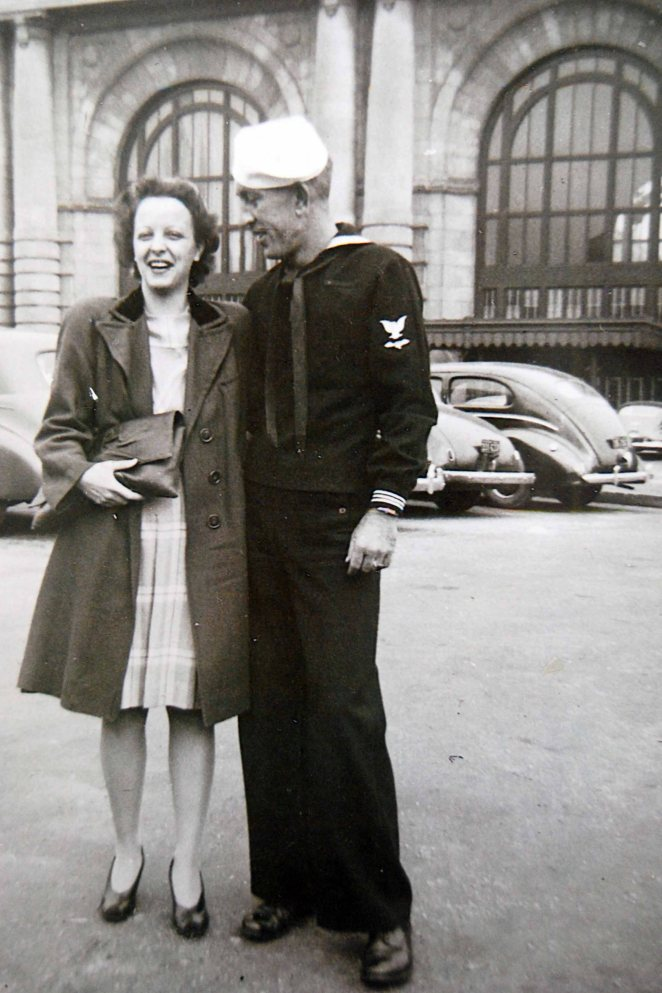 My Grandma and Grandpa, on the day Grandpa left Union Station, Kansas City for service with the Navy in World War 2.