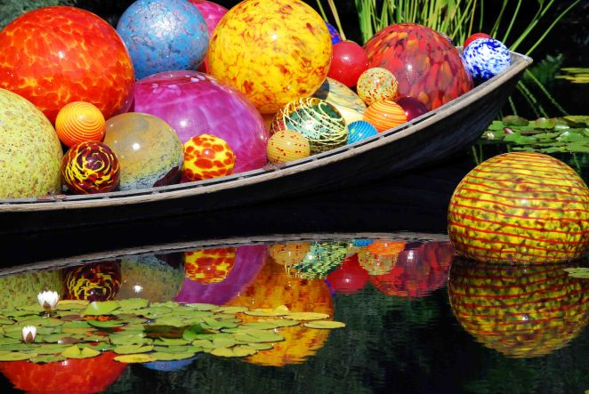 Dale Chihuly blown glass sculpture at Denver Botanic Gardens, 2014.