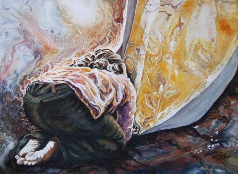 """Just to Touch the Hem; 2014; 29"""" x 21""""; mixed media: watercolor and pastel. Privately owned."""