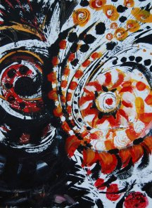 "Blaze series; 2015; 11"" x 15""; acrylic."