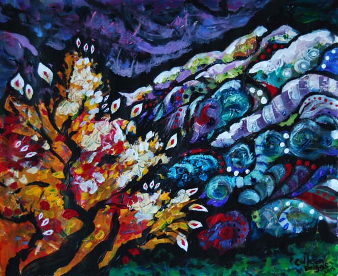 Burning Bush (study); 2015; 13.25' x 11'; acrylic.