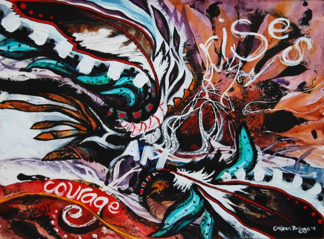 """Courage Rises; 2015; 11"""" x 15""""; mixed media: watercolor and acrylic."""