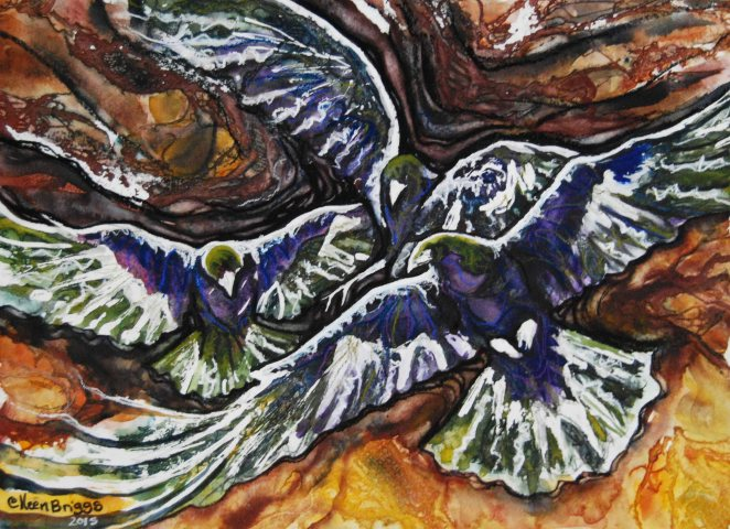 "Elijah's birds, study; 2015;  14.5"" x 10.5""; watercolor and pastel. Colleen Briggs."