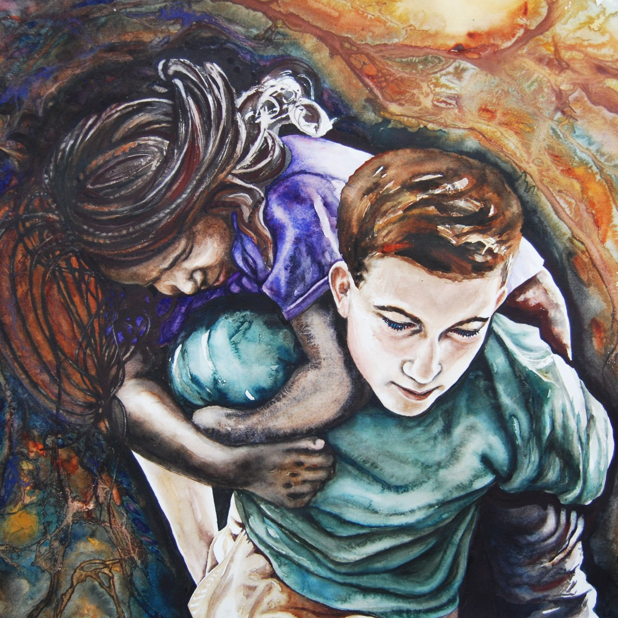 """Whatever It Takes; 2014; 28"""" x 20""""; watercolor."""