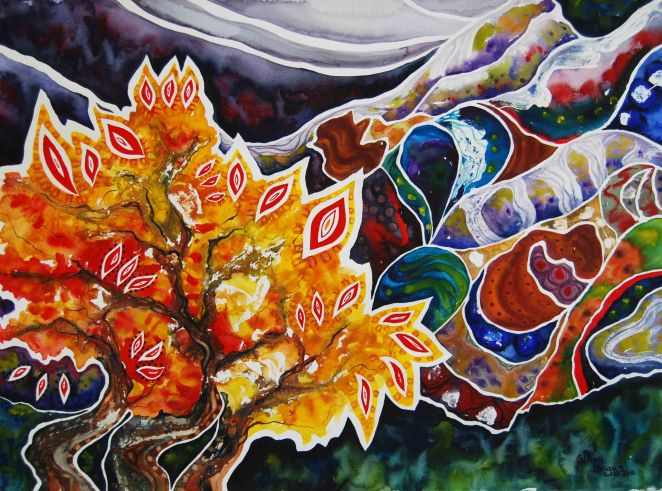 "Burning Bush; 2015; 22"" x 30""; in honor of the Kenyan Christians who died on April 2, 2015; watercolor."