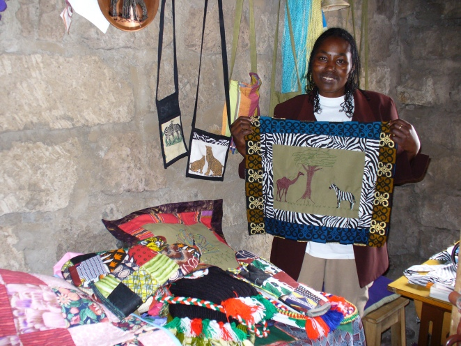 Joyce with some of her creations at Mathare Worship Centre, 2005