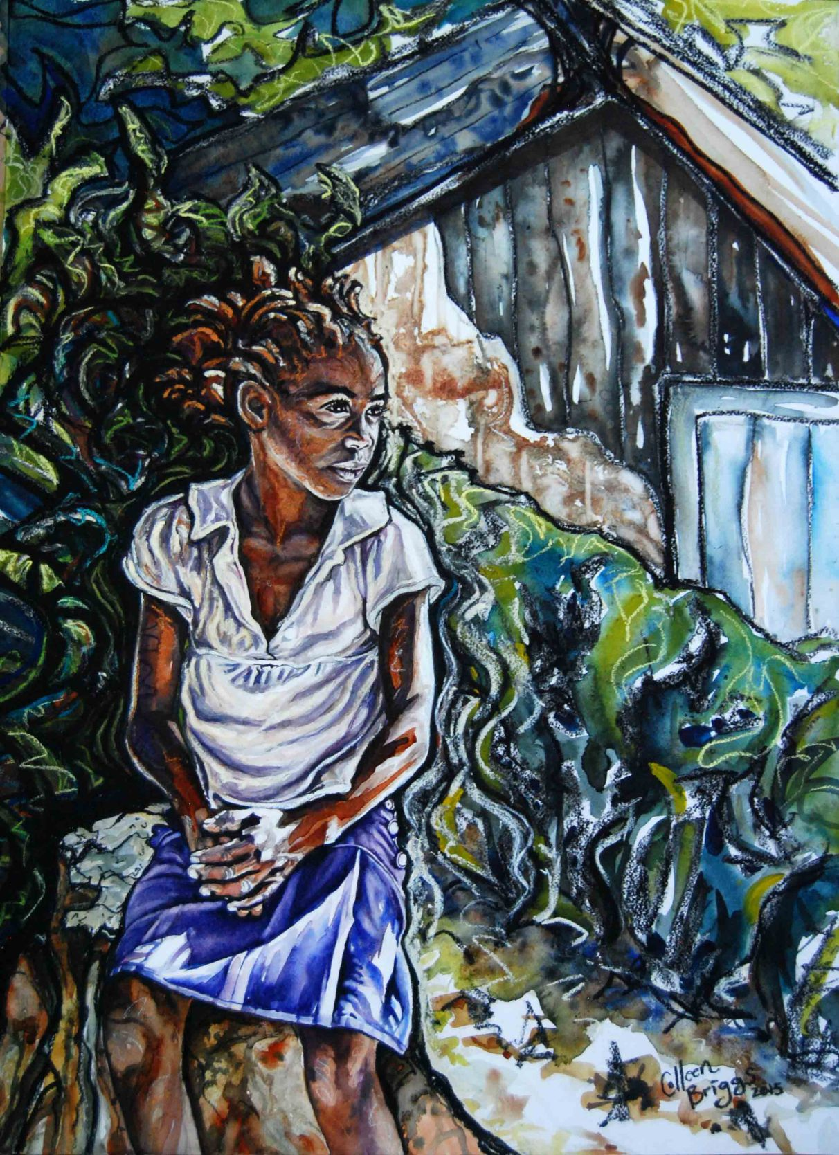 """Orphan in Zimbabwe; 2015; 20"""" x 28""""; watercolor and pastel."""
