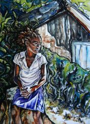 "Orphan in Zimbabwe; 2015; 20"" x 28""; watercolor and pastel."