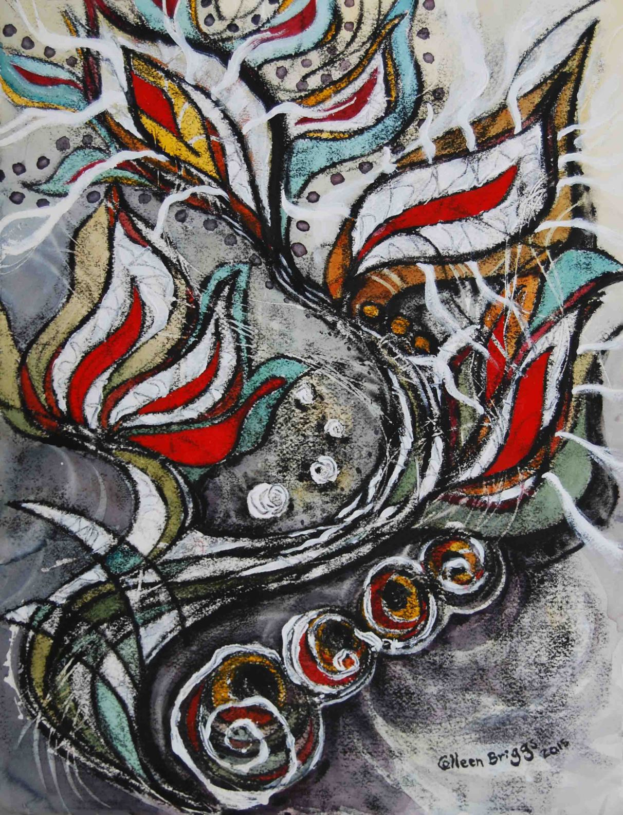 """Battle Cry (series #2), inspired by A Beautiful Exchange by Megan Nilsen; 2015; 15"""" x 19.5""""; mixed media: oil-based printing ink, watercolor, acrylic. Privately owned."""