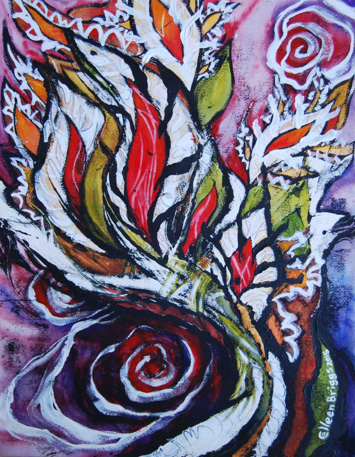 """Battle Cry (series #3); 2015; 15"""" x 19""""; mixed media: oil-based ink, watercolor, acrylic."""