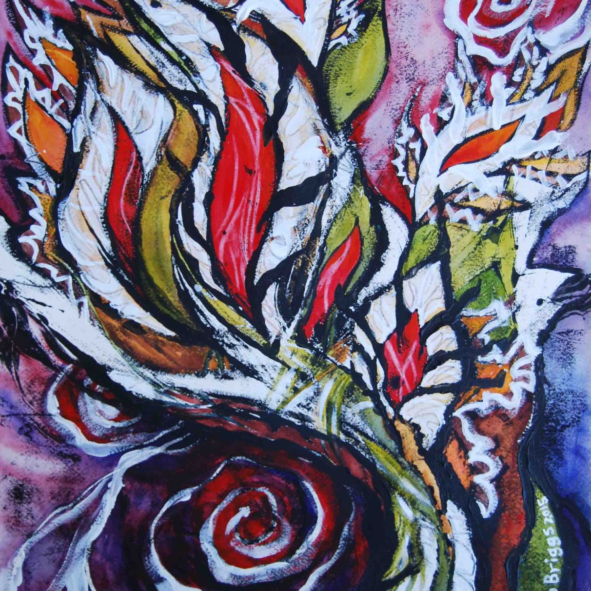 "Battle Cry (series #3); 2015; 15"" x 19""; mixed media: oil-based ink, watercolor, acrylic."
